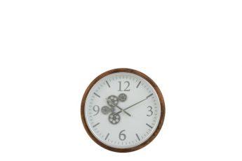 horloge engrenage bois blanc ref 2917 - 99€