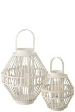 lanterne perles bambou blanc ref1409-65€